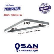 Lineal Led opal triangular High Performance, medidas módulos a)