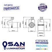 Foco de carril Led 35w Cylinder Pro CRI80-CRI90 medidas