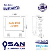 Proyector Led 120w Gold PRO 1700K medidas