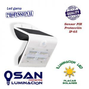 Aplique Solar, Led 3w, IP-65, sensor PIR.