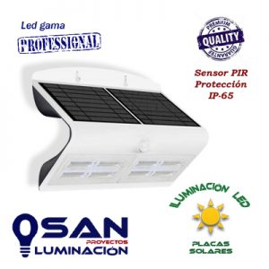 Aplique Solar, Led 3w, IP-65, sensor PIR.