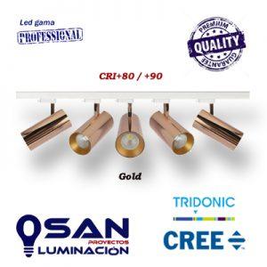 Foco de carril MDR48 Gold, Led 27w CREE, CRI+80/+90