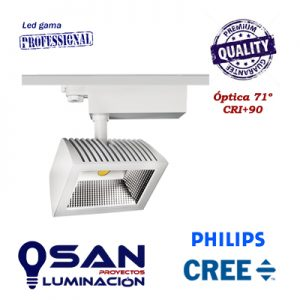 Foco de carril Square II, Led 40w Cree/Philips, CRI+90